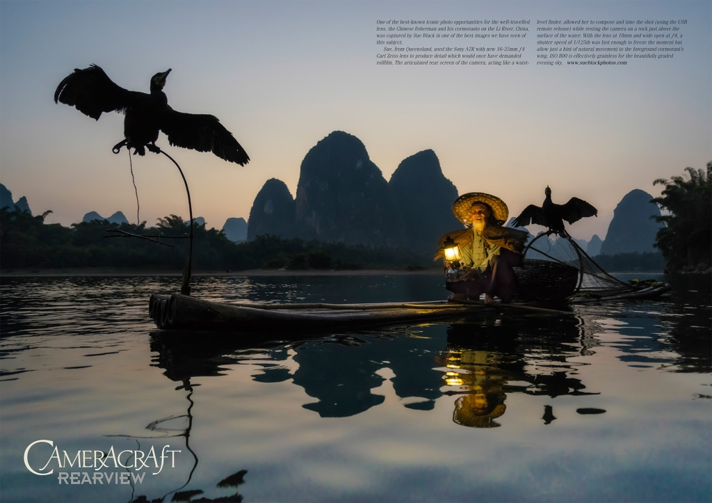 Chinese cormorant fisherman at dusk
