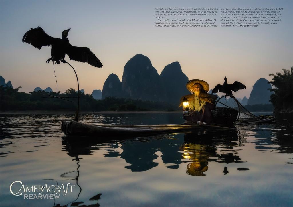 Chinese cormorant fisherman at dusk